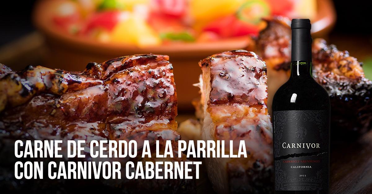 carne de cerdo, parrilla y vino carnivor